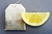 Tea bag and slice of lemmon