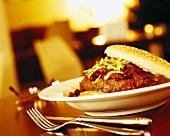 Hamburger on plate in restaurant