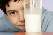 Boy with glass of milk