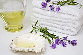Towels, lavender, shell and lavender oil