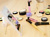 Cosmetics on table, close-up