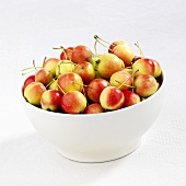 Japanese crab apples (Malus floribunda) in a bowl
