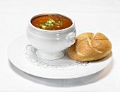 Goulash soup with bread roll