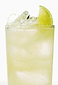 Vodka Cocktail on the Rocks with Lime Garnish