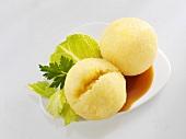 Potato dumplings with gravy