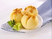 Potato dumplings with buttered breadcrumbs