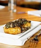 Fried Grit Cakes with Mushrooms
