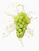 Green grapes with splashing juice