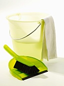 Cleaning bucket, dustpan and brush