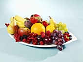 Fruit still life on oval plate