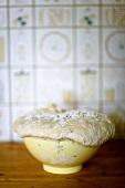 Risen dough spilling over edge of bowl