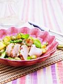 Cured pork with vegetable salad