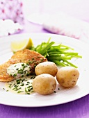 Breaded fish with chive sauce and potatoes
