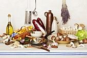 Mushroom still life with lettuce, radicchio and oil