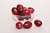 Cranberries in small glass dish