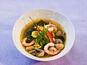 Spicy prawn and mushroom soup