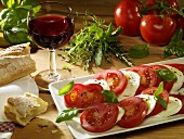 Tomato and mozzarella (still life)