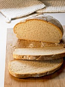 Organic wheat bread, partly sliced