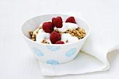 Muesli with yoghurt and raspberries