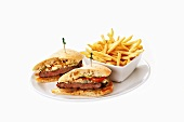 Steak sandwiches and chips