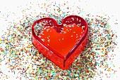 Herzform und Zuckerstreusel
