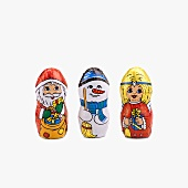 Chocolate figures for Christmas (Father Christmas, snowman, angel)