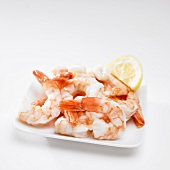 Plate of Cooked Shrimp with Lemon
