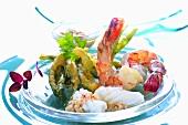 Plate of seafood with pork tempura