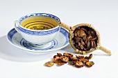 Hawthorn tea and dried haws