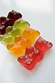Four Gummi bears in a row