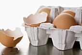 Eggs in egg box, one empty eggshell