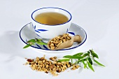 Tea made with dried pagoda tree fruit (Chuan Lian Zi, China)