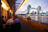 View of Tower Bridge from Restaurant Butler's Wharf Chop House, London, UK