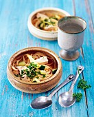 Chicken soup with linguine