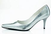 Trendiger Schuh mit Pfennigabsatz silber, Brautschuh, Hochzeitsschuh