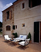 Courtyard with iron furniture in Mallorca, Spain
