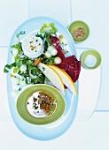 Mangold-Melonen-Salat mit Ziegenkäse zum Abnehmen