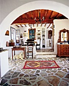 Interior of living room of a house at Cycladic island of Antiparos