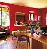 Living room in Mediterranean style, France