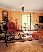 Interior of living room with carpet and wing chair