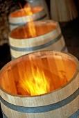 Burnout of new oak barrels, Cognac, France