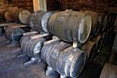Cognac is stored in barrels