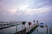 Boat dock at Lake Neusiedl, Austria