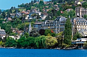 View of luxury hotel Montreux Palace on quayside at Lake Geneva, Switzerland
