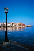 View of The Port of Chania in spring with blue sky, Crete