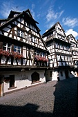Half timbered houses in sunshine for tourists, Strasbourg, France