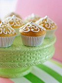 Lemon muffins decorated with silver pearls and icing sugar