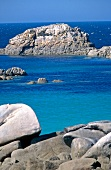 View of rocky coast and water in Santec, Brittany, France