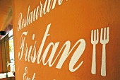 Close-up of Tristan Restaurant wall in Mallorca, Spain