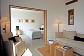 View of bedroom in Hotel Casadelmar in Porto-Vecchio, Corsica, France